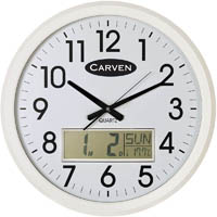 CARVEN WALL CLOCK WITH LCD CALENDAR 470MM WHITE