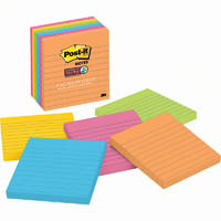 POST-IT 6756SSUC SUPER STICKY NOTES LINED 98 X 98MM RIO DE JANEIRO ASSORTED COLOURS PACK 6