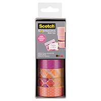 SCOTCH C317-4PK-STRP EXPRESSIONS WASHI TAPE ASSORTED PACK 4