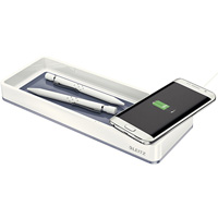 LEITZ WOW DESK ORGANISER WITH INDUCTION CHARGER WHITE
