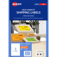 AVERY 959404 L7168FO HIGH VISIBILITY SHIPPING LABEL LASER 2UP FLUORO ORANGE PACK 10