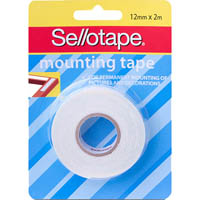 SELLOTAPE PERMANENT FOAM DOUBLE SIDED MOUNTING TAPE 12MM X 2M
