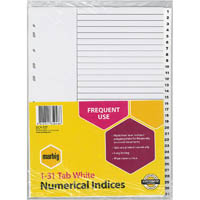 MARBIG INDEX DIVIDER PP 1-31 TAB A4 WHITE