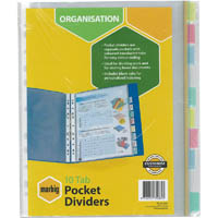 MARBIG DIVIDER POCKET PP 10-TAB A4 ASSORTED