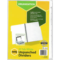 MARBIG DIVIDER UNPUNCHED MANILLA 10-TAB A4 WHITE
