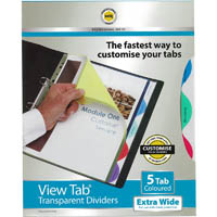 MARBIG PROFESSIONAL SERIES EXTRA WIDE VIEW-TAB DIVIDER PP 5-TAB A4 ASSORTED