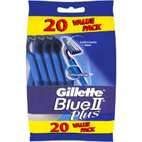 GILETTE BLUE PLUS 2 DISPOSABLE RAZOR PACK 20