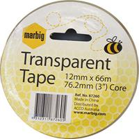 MARBIG OFFICE TAPE 12MM X 66M 76.2MM CORE