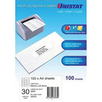 UNISTAT 38935 MULTIPURPOSE LABEL 30UP 64 X 25.4MM WHITE PACK 100