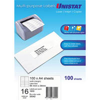 UNISTAT 38942 MULTIPURPOSE LABEL 16UP 99 X 34MM WHITE PACK 100