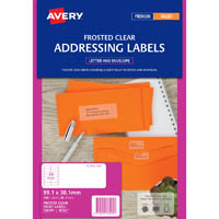 AVERY 936005 J8563 INKJET LABEL 99.1 X 38.1MM 14UP CLEAR WITH MATT FINISH PACK 25