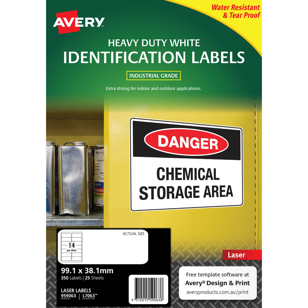 Image for AVERY 959063 L7063 HEAVY DUTY LASER LABELS WHITE 14UP PACK 25 from SBA Office National