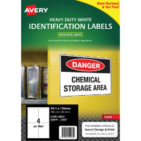 AVERY 959069 L7069 HEAVY DUTY LASER LABELS WHITE 4UP PACK 25