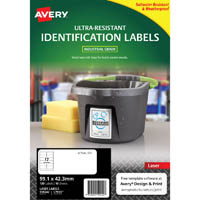 AVERY 959242 ULTRA-RESISTANT OUTDOOR LABELS 99.1 X 42.3MM WHITE PACK 10