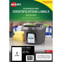 AVERY 959245 ULTRA-RESISTANT OUTDOOR LABELS 210 X 148MM WHITE PACK 10