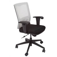 OFFICE NATIONAL DELUXE OPERATOR CHAIR MESH BACK WITH ARMS SILVER