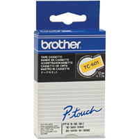 BROTHER TC-601 LABELLING TAPE 12MM BLACK ON YELLOW