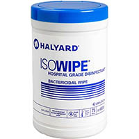HALYARD ISOWIPE HOSPITAL GRADE DISINFECTANT BACTERICIDAL WIPES TUB 75