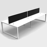 RAPID INFINITY 4 PERSON LOOP LEG DOUBLE SIDED WORKSTATION WITH SCREEN 1800 X 700MM WHITE