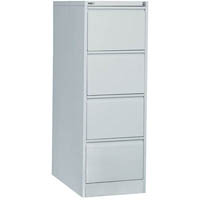 GO STEEL FILING CABINET 4 DRAWERS 1321 X 460 X 620MM SILVER GREY