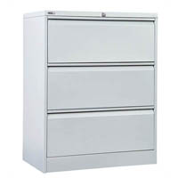 GO LATERAL FILING CABINET 3 DRAWER 1016 X 900 X 473MM SILVER GREY