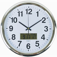 ITALPLAST WALL CLOCK 430MM WITH DIGITAL DISPLAY CHROME FRAME / WHITE FACE