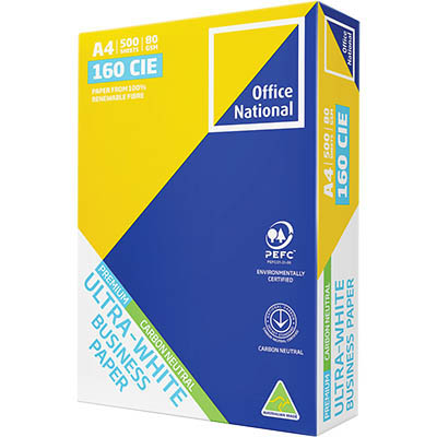 Image for OFFICE NATIONAL A4 ULTRA WHITE CARBON NEUTRAL COPY PAPER 80GSM WHITE 500 SHEETS from OFFICE NATIONAL CANNING VALE, OFFICE TOOLS OPD & OMNIPLUS