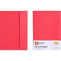 QUILL C6 COLOURED ENVELOPES RED PACK 25