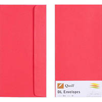 QUILL DL COLOURED ENVELOPES RED PACK 25