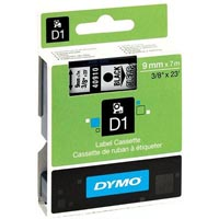 DYMO 40910 D1 LABEL TAPE 9MM X 7M BLACK ON CLEAR