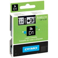 DYMO 43610 D1 LABEL TAPE 6MM X 7M BLACK ON CLEAR