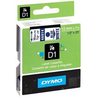 DYMO 45014 D1 LABEL TAPE 12MM X 7M BLUE ON WHITE