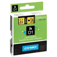 DYMO 45018 D1 LABEL TAPE 12MM X 7M BLACK ON YELLOW