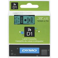 DYMO 45019 D1 LABEL TAPE 12MM X 7M BLACK ON GREEN