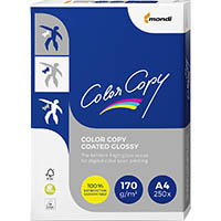 MONDI COLOR COPY A4 COPY PAPER GLOSSY COATED 170GSM WHITE PACK 250 SHEETS