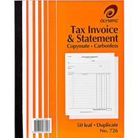 OLYMPIC 726 INVOICE AND STATEMENT BOOK CARBONLESS DUPLICATE 50 LEAF 250 X 200MM