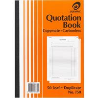 OLYMPIC 750 QUOTATION BOOK CARBONLESS DUPLICATE 50 LEAF A4