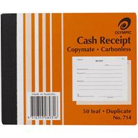 OLYMPIC 714 RECEIPT BOOK CARBONLESS DUPLICATE 50 LEAF 125 X 100MM