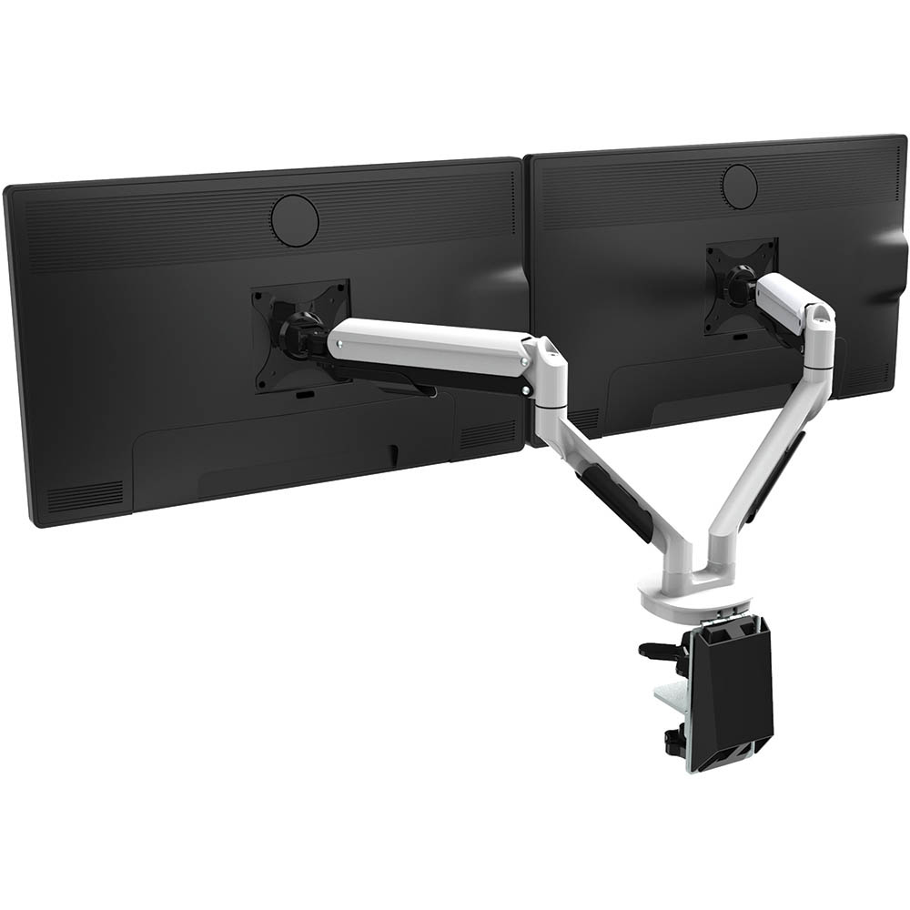 Image for CUTLASS DOUBLE MONITOR ARM WHITE from OFFICE NATIONAL CANNING VALE, OFFICE TOOLS OPD & OMNIPLUS
