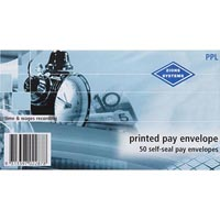 ZIONS PRINTED PAY ENVELOPES SELF SEAL 90 X 165MM PACK 50